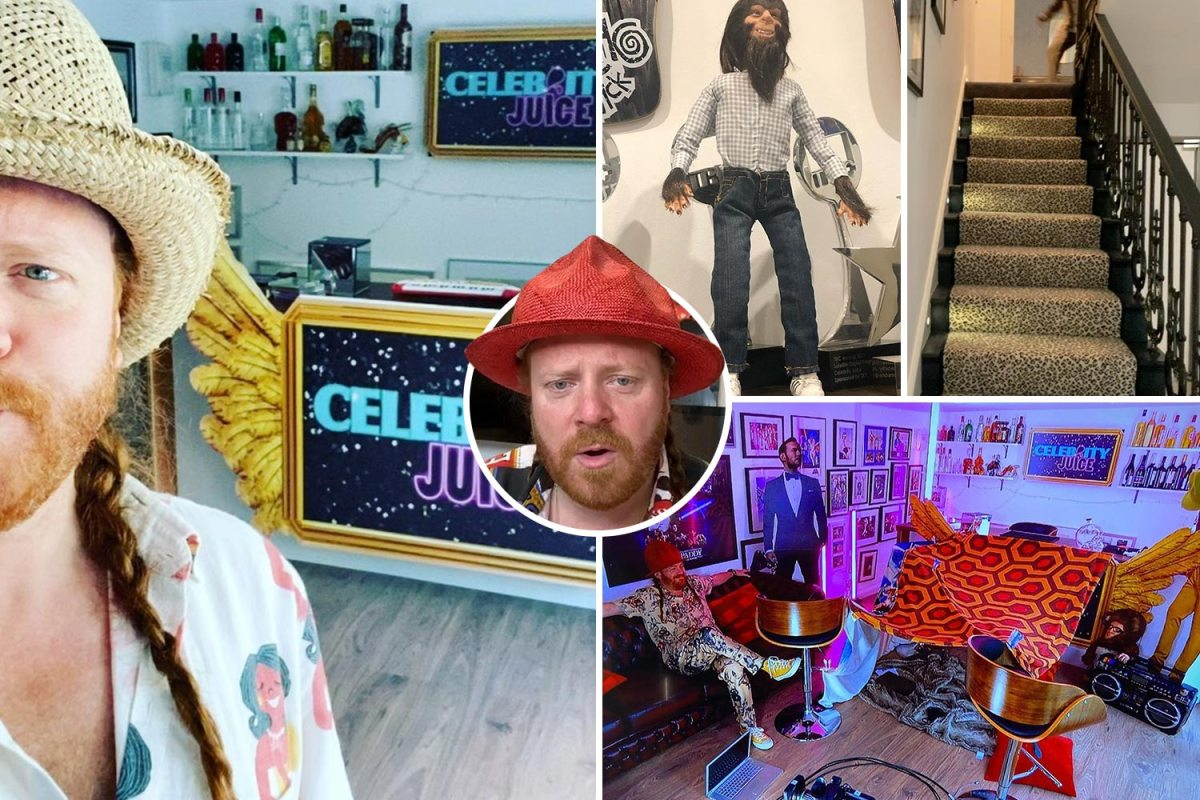 Inside Keith Lemon aka Leigh Francis's funky home with leopard print carpets, cow skin rugs and Bo Selecta Bear