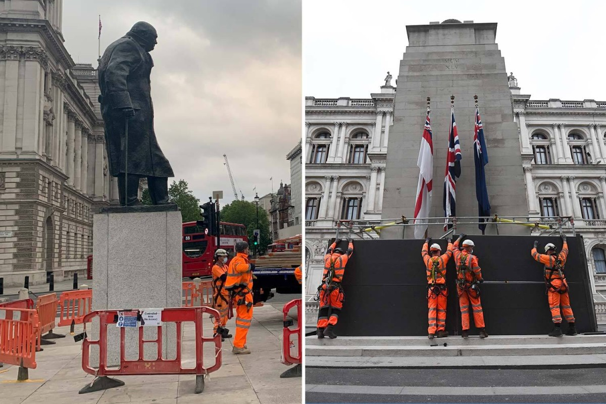 Churchill statue and the Cenotaph boarded up ahead of Black Lives Matter protest as cops fear clash with far-right yobs