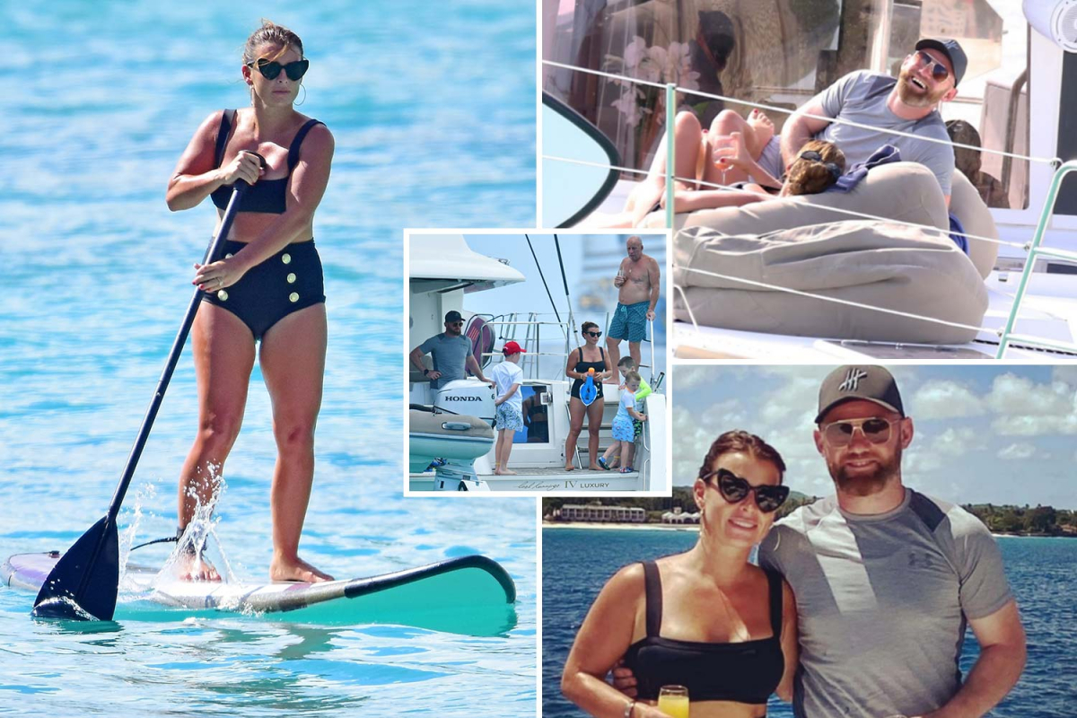 Coleen and Wayne Rooney enjoy drinks on board luxury boat during their family holiday in Barbados