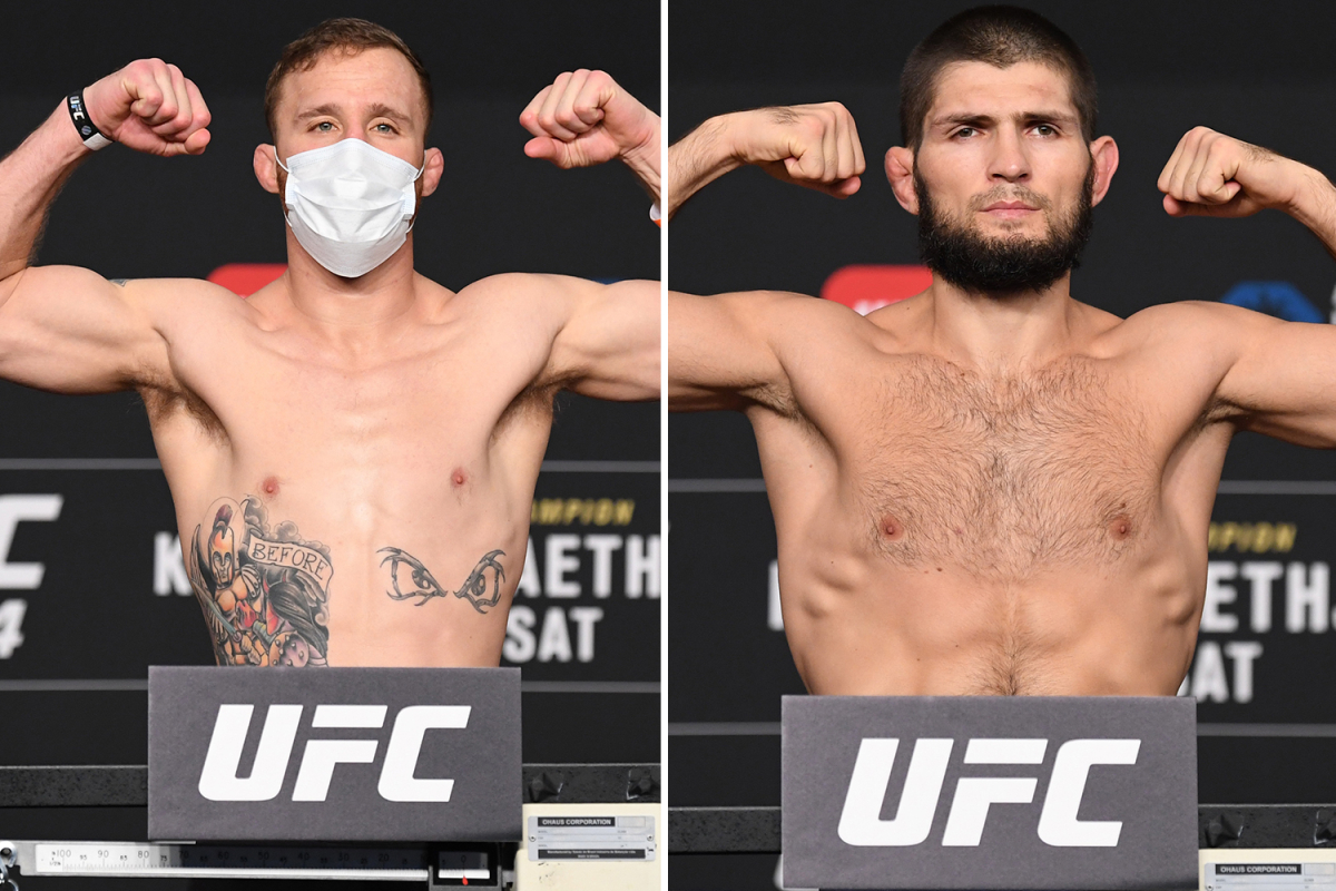 Khabib Nurmagomedov and Justin Gaethje look shredded on scales as UFC 254 rivals both weigh-in at 155lbs