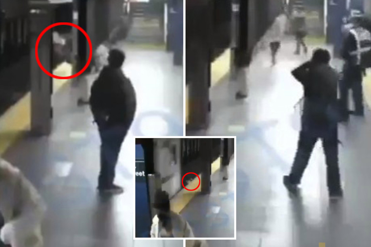 Terrifying moment crazed NYC subway rider shoves stranger onto the tracks moments before train pulls in