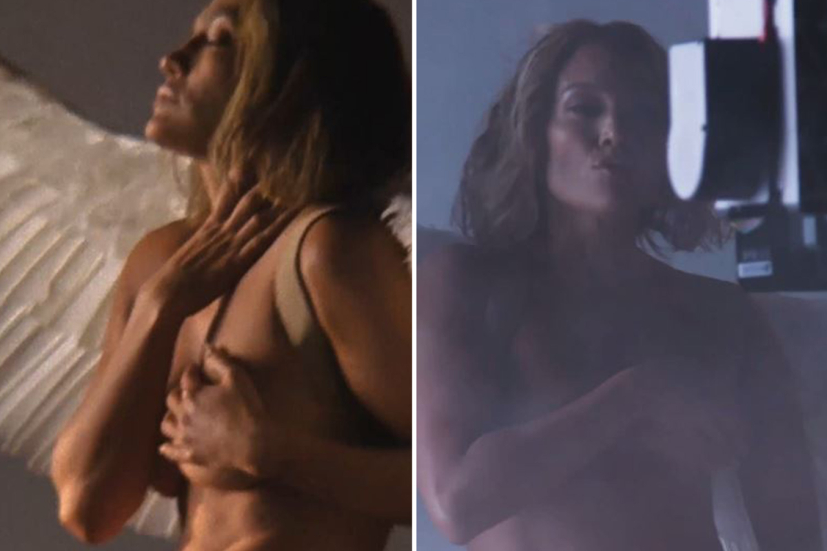 Jennifer Lopez strips totally naked apart from a pair of angel wings for new music video for In The Morning