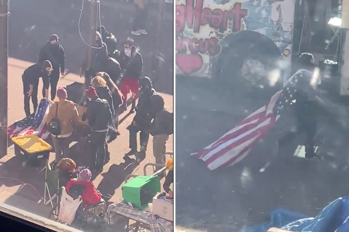 Shocking moment far-left mob rips down American flag before 'STORMING city hall' in Washington state