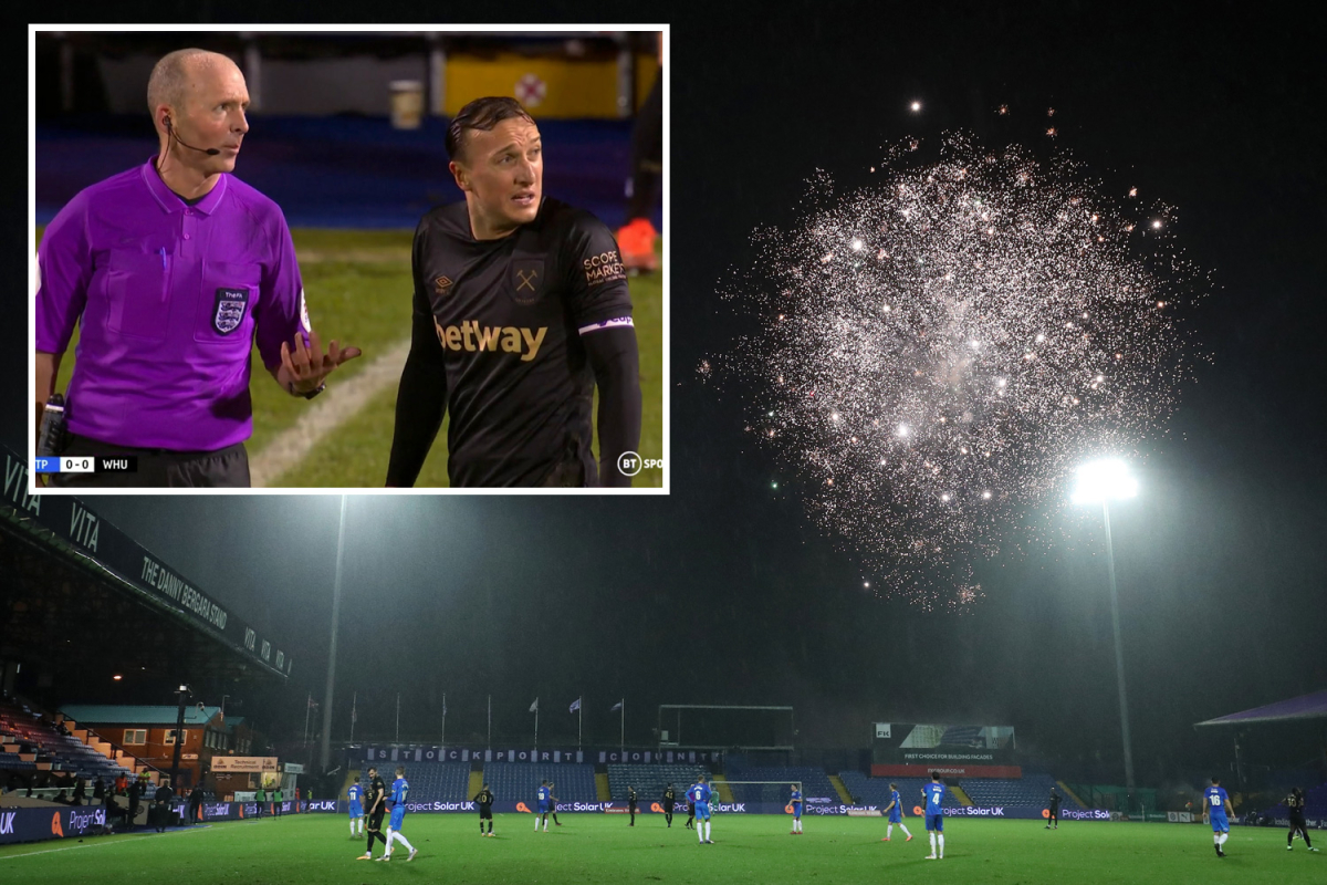 Stockport vs West Ham temporarily delayed over fireworks being let off outside the ground