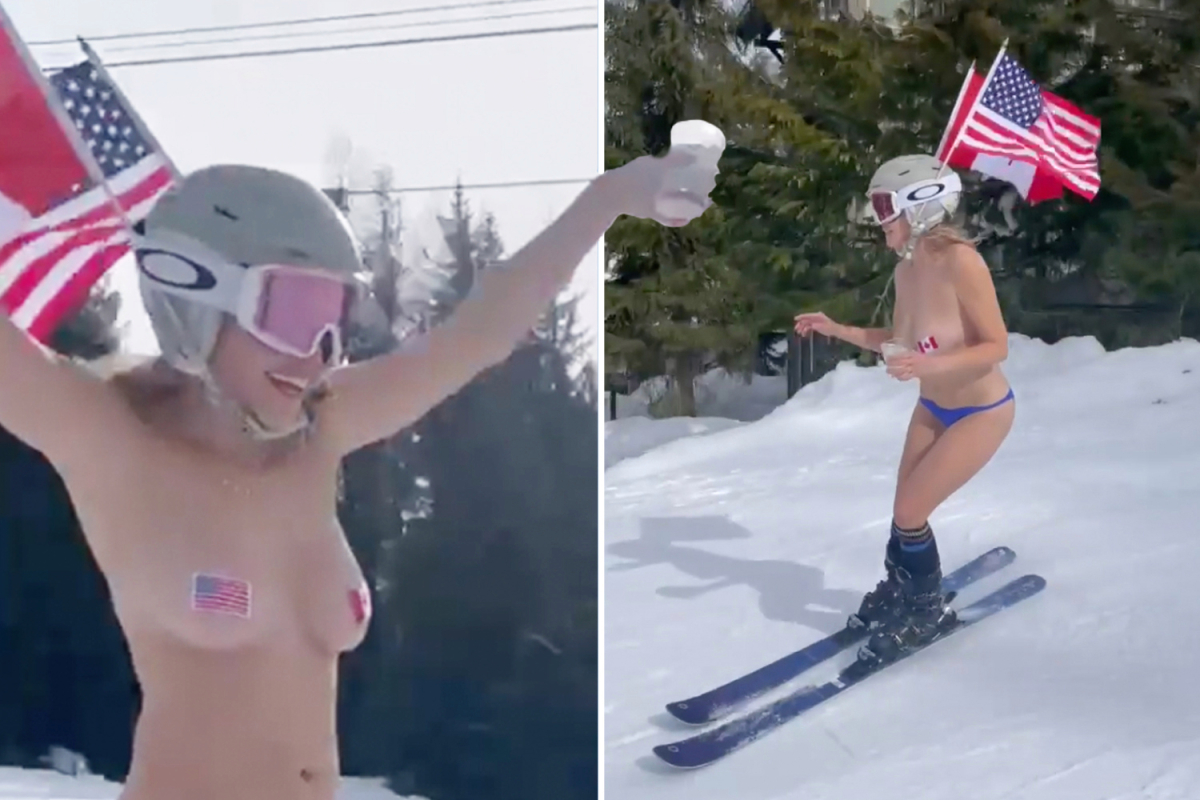 Chelsea Handler skis NAKED with stickers on her nipples for 46th birthday & brags 'I like to take my clothes and smile'